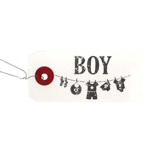 Etiquettes blanches + Tampon bois Boy - Photo n°1