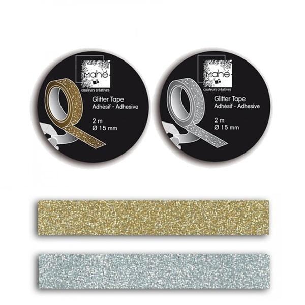 2 Masking tapes à paillettes - argenté & doré - Photo n°1