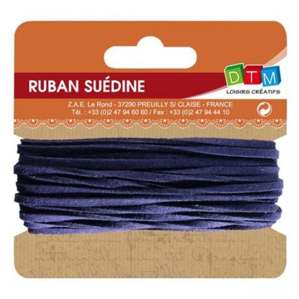 Ruban suédine 5 m - Bleu marine - Photo n°1
