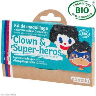 Kit de maquillage bio Clown et super-héros - 3 couleurs