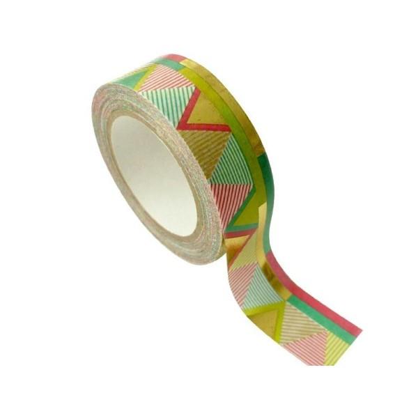 Masking Tape doré 1,5 cm x 10 m - Aztèque - multicolore - Photo n°1