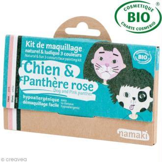 Kit de maquillage bio Chien et panthère rose - 3 couleurs