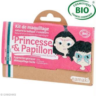 Kit de maquillage bio Princesse et papillon - 3 couleurs