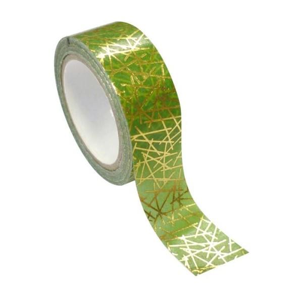 Masking tape vert & or géométrique métallisée 1,5 cm x 10 m - Photo n°1