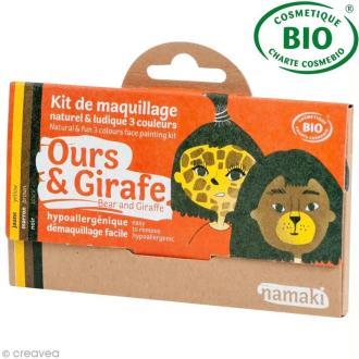 Kit de maquillage bio Ours et girafe - 3 couleurs