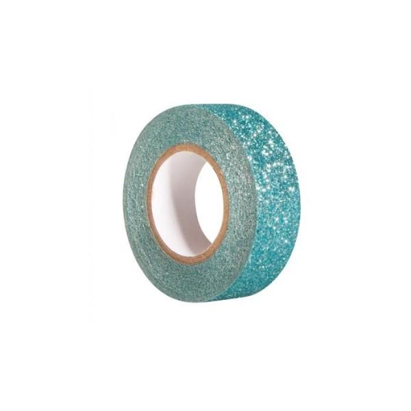 Glitter tape 5 m x 1,5 cm - bleu lagon - Photo n°1