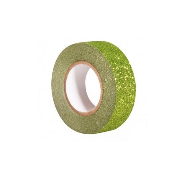 Glitter tape 5 m x 1,5 cm - vert - Photo n°1