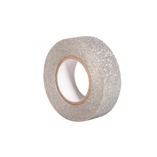 Glitter tape 5 m x 1,5 cm - argenté - Photo n°1