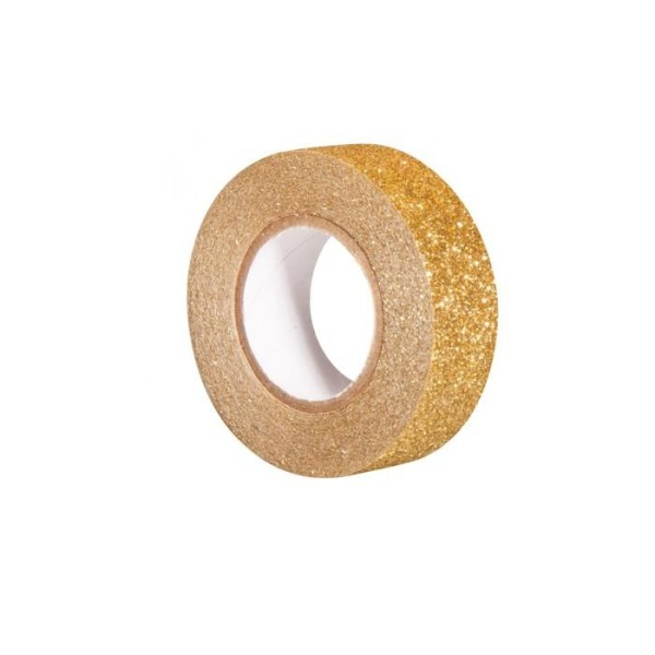 Glitter tape 5 m x 1,5 cm - doré - Photo n°1