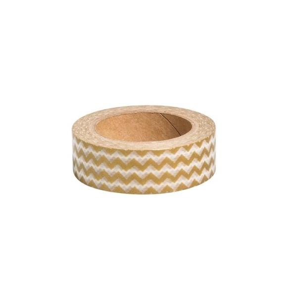Washi Tape Zigzag doré - 15 m x 1,5 cm - Photo n°1