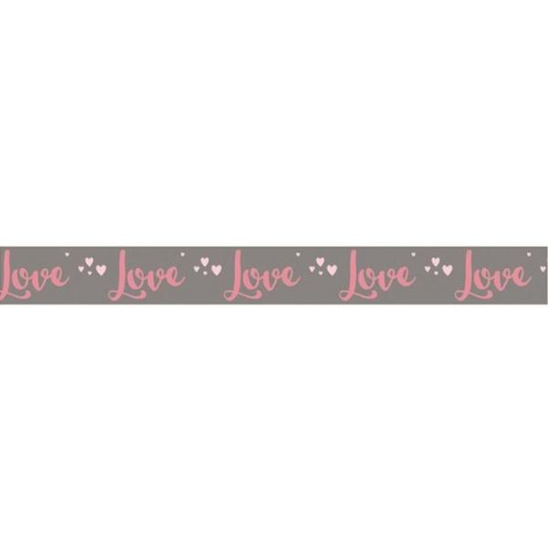 Washi Tape Love sur fond taupe - 15 m x 3 cm - Photo n°2