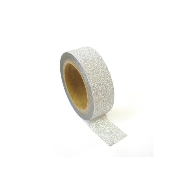 Masking tape à paillettes 1,5 cm x 5 m - Argenté - Photo n°1