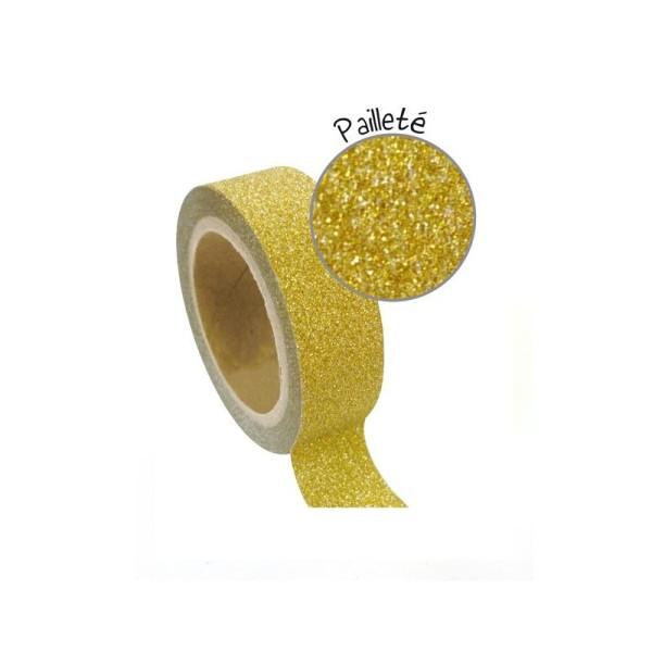 Masking tape à paillettes 1,5 cm x 5 m - Doré - Photo n°2