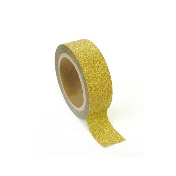 Masking tape à paillettes 1,5 cm x 5 m - Doré - Photo n°1