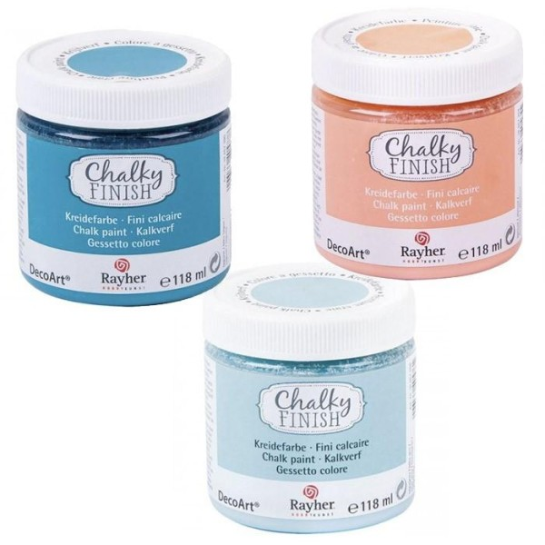 Peinture craie Chalky Finish 118 ml x 3 - bleu-orange-bleu/gris - Photo n°1