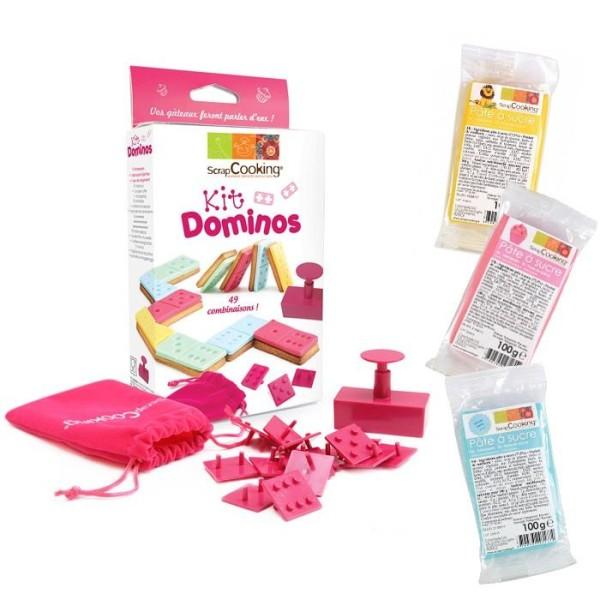 Kit Biscuits Dominos + 3 sachets de pâte à sucre (bleu, rose et jaune) - Photo n°1