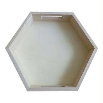 Plateau hexagonal en bois 30 x 26 x 5 cm