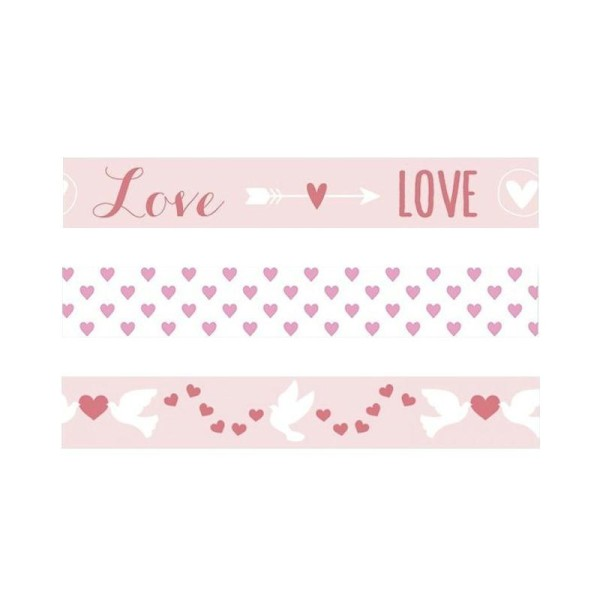 2 masking tapes St Valentin - coeurs & colombes - Photo n°1