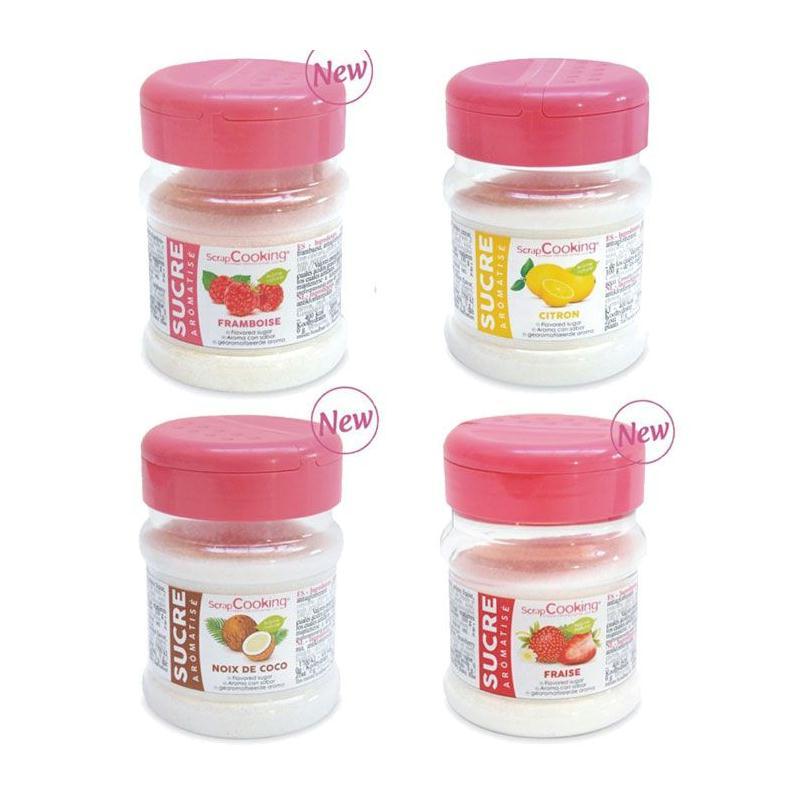 kit 4 sucres aromatis s fraise framboise citron coco pr paration g teau en sachet creavea. Black Bedroom Furniture Sets. Home Design Ideas