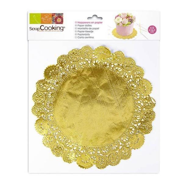 6 Napperons dorés pour gâteaux Ø 26,5 cm - Photo n°1