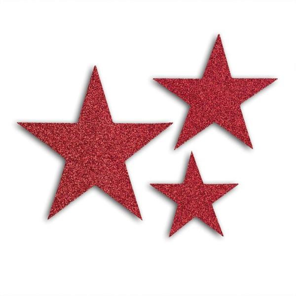 12 étoiles en relief à paillettes à coller L'or de Bombay - Rouge - Photo n°2