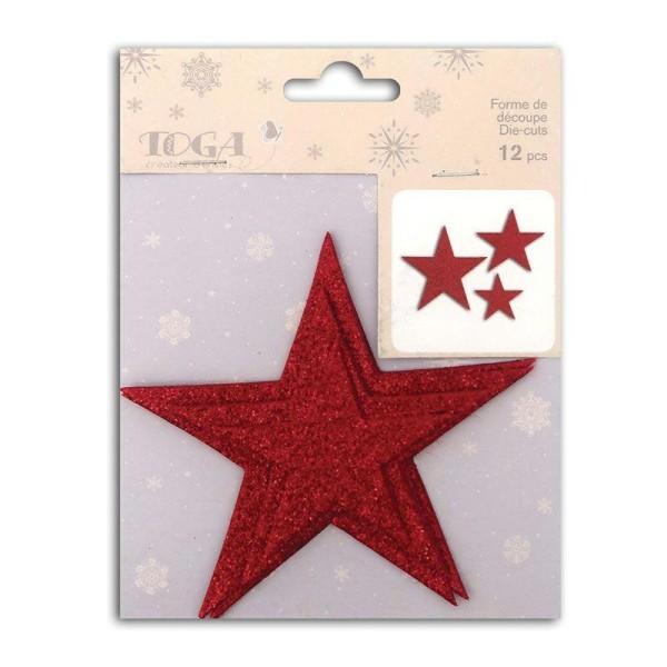 12 étoiles en relief à paillettes à coller L'or de Bombay - Rouge - Photo n°1