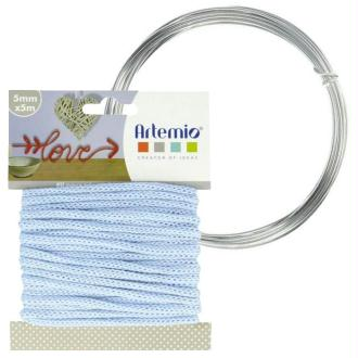Fil à tricotin bleu clair 5 mm x 5 m + fil d'aluminium