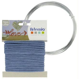 Fil à tricotin bleu 5 mm x 5 m + fil d'aluminium