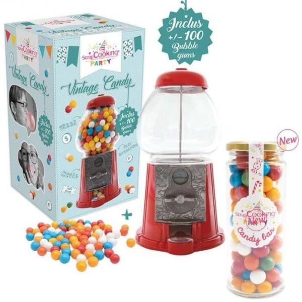Distributeur de bonbons vintage + recharge bubble gums 300 g - Photo n°1
