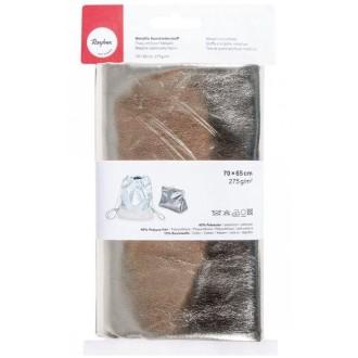 Tissu simili cuir 70 x 65 cm effet métallique - Doré