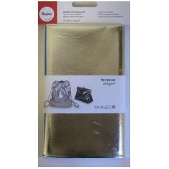 Tissu simili cuir 70 x 65 cm effet métallique - Argenté