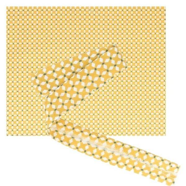 Tissu 55 x 45 cm & biais de couture 3 m x 2 cm - Croix jaunes - Photo n°1