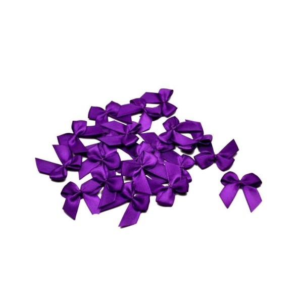 Sachet de 20 nœuds en satin de belle qualite violet 465 - Photo n°1