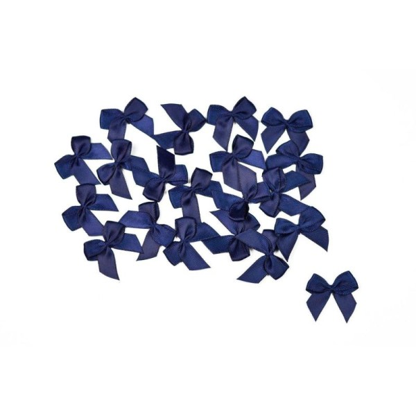 Sachet de 20 nœuds en satin de belle qualite bleu marine 370 - Photo n°1