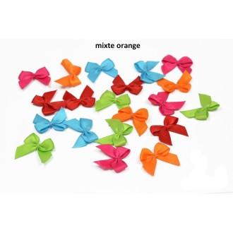 Sachet de 20 nœuds en satin de belle qualite mixte orange