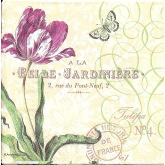 4 Serviettes en papier Fleurs Tulipe Papillon Format Cocktail