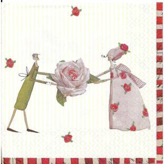 4 Serviettes en papier Fées des Roses Format Lunch