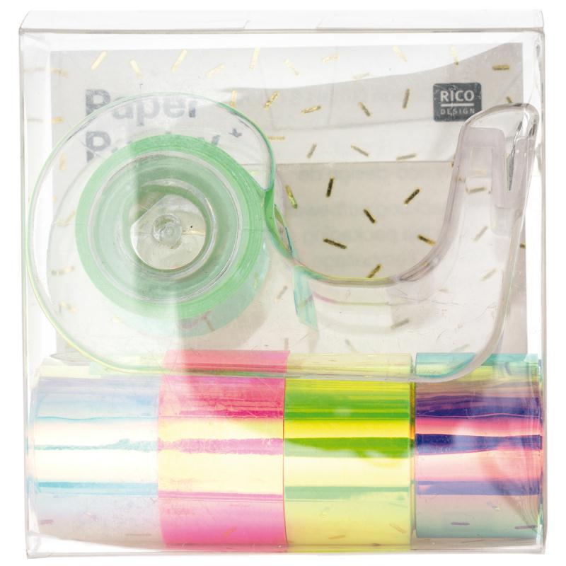 Set de masking tape Mini et dévidoir - Nacré Multicolore - 1,2 cm x 1,8 m - 5 pcs - Photo n°1