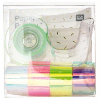 Set de masking tape Mini et dévidoir - Nacré Multicolore - 1,2 cm x 1,8 m - 5 pcs