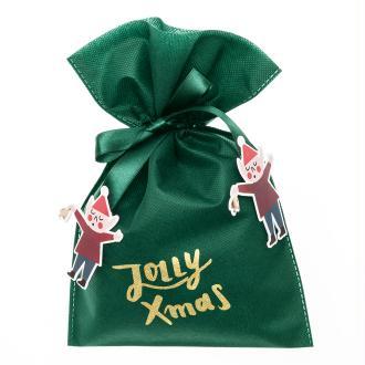 Petit Sac Cadeau en tissu Vert - Jolly Xmas - 20 x 30 cm