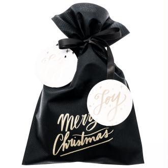Grand Sac Cadeau en tissu Noir - Merry Christmas - 30 x 45 cm