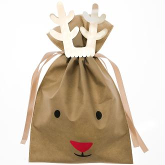 Grand Sac Cadeau en tissu Marron - Renne - 30 x 45 cm