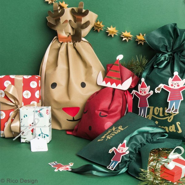 Petit Sac Cadeau en tissu Marron - Renne - 20 x 30 cm - Photo n°2