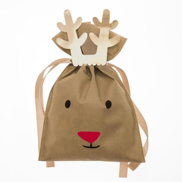 Petit Sac Cadeau en tissu Marron - Renne - 20 x 30 cm - Photo n°1