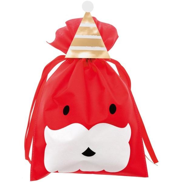 Grand Sac Cadeau en tissu Rouge - Père Noël - 30 x 45 cm - Photo n°1