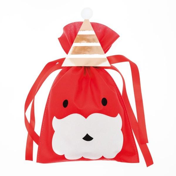 Petit Sac Cadeau en tissu Rouge - Père Noël - 20 x 30 cm - Photo n°1