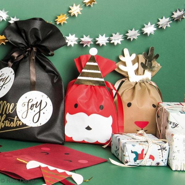 Grand Sac Cadeau en tissu Rouge Bordeaux - Lutin de Noël - 30 x 45 cm - Photo n°3