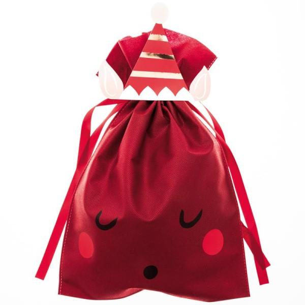 Grand Sac Cadeau en tissu Rouge Bordeaux - Lutin de Noël - 30 x 45 cm - Photo n°1