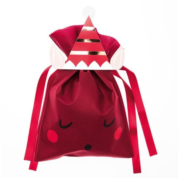 Petit Sac Cadeau en tissu Rouge Bordeaux - Lutin de Noël - 20 x 30 cm - Photo n°1