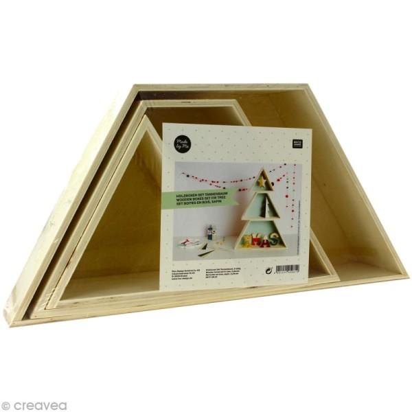 Etagère Sapin en bois brut - 38 x 51,5 cm - 3 pcs - Photo n°1